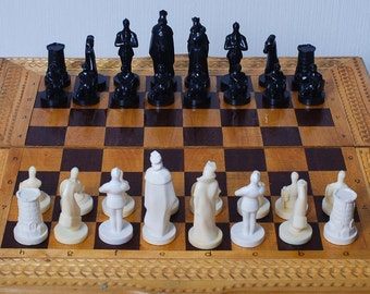 SALE 30%off Vintage plastic Chess Game without board, knights (RT082)