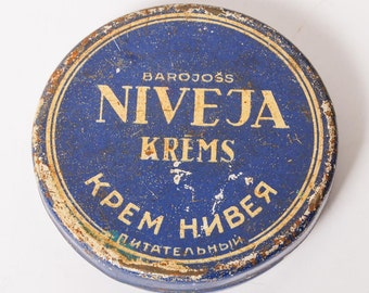 Vintage Tin Metal Box, Case, Nivea face cream, Dzintars (CI483)