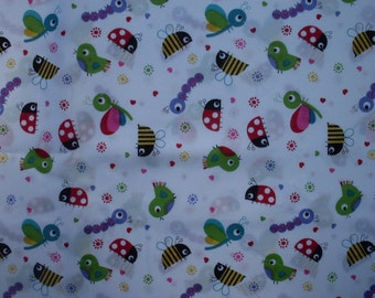 Various Bugs on a White Background Fabric