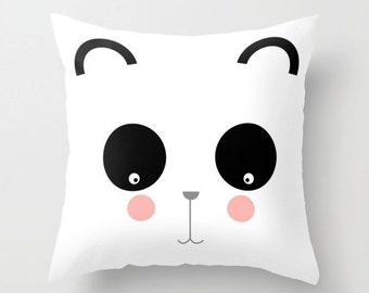Pretty panda throw pillow cover - kids pillow - cushion cover - nursery decor