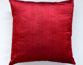 solid dark red Dupioni pure silk cushion cover / sham 18 X 18 - code 221