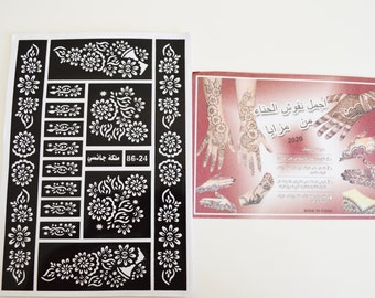 2 SHEETS HENNA stickers tattoo bodyart mehndi stencil sheets