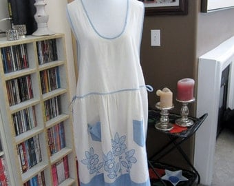 Light Blue Embroidered Vintage Apron
