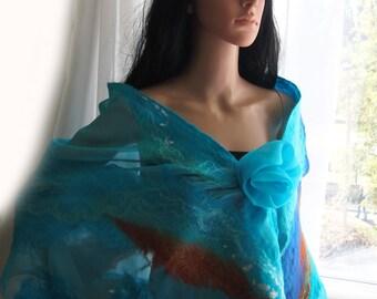 Nuno Felted Scarf  -Blue turquoise- Nuno-felting wool merino сhiffon-Felted scarves-Felted shawl
