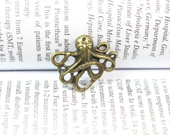 Octopus Charm pendant - Antique Bronze Octopus Connector Charm Pendants 21x24mm