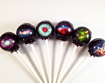 6 Cosmic Outer Space Hard Candy Lollipops