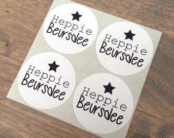 Stickers (4 pieces)  5 cm Heppie Beursdee (D04)