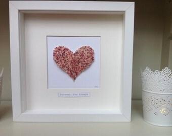 Custom Beaded Heart Artwork in Box Frame