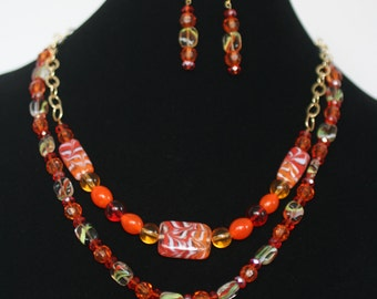 Lively orange necklace and earrings!