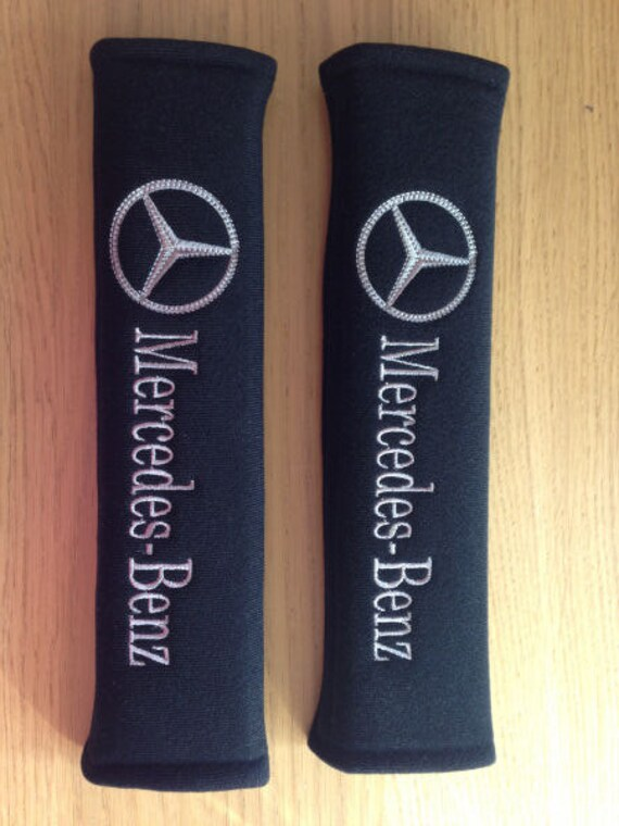 Embroidered luxury car logo seat belt pads mercedes by for Mercedes benz seat belt purse
