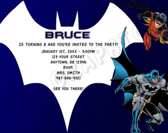 Batman and Robin Birthday Invitation - Printable