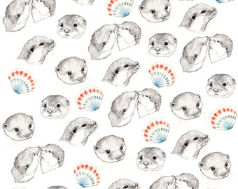 Otters Fabric Print - Fat Quarter