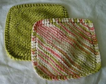 Knit Knitted Dishcloths Dishrags Washcloths 100% Cotton Handmade Cloths