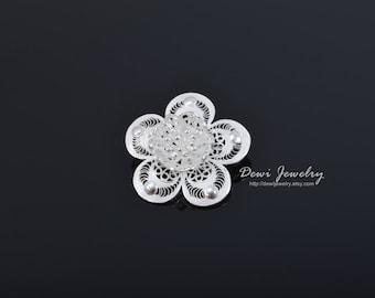 Sterling Silver Filigree Rose Flower Brooch