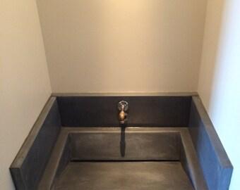 Marvelous Precast Concrete Vanity Slant Sink.