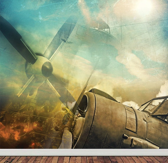 Wall mural vintage propeller airplane wall paper by for Aeroplane wall mural