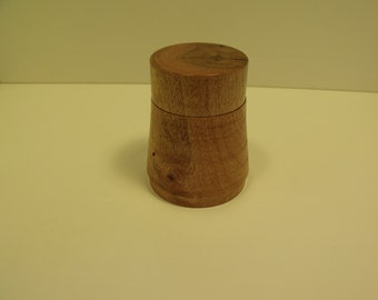 Decorative lathe turned wooden box.