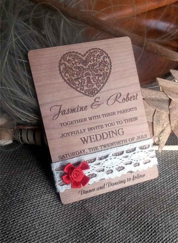 Red bow lace wedding invitation / engraved wood wedding invitation / lace vintage wedding invitation / unique white lace wedding invitation