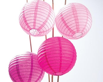 12 Pack of 8 Inch Multicolor Pink No Frills Paper Lanterns