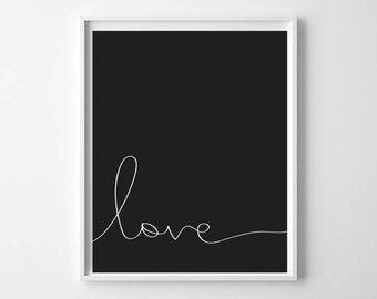 Love Printable Art Monochrome Home Decor Printable Scandinavian Poster Minimalist Nursery Art Print Typography Poster INSTANT DOWNLOAD