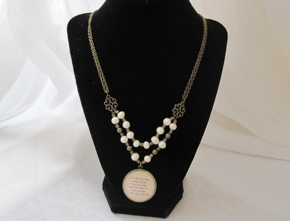 Outlander inspired necklace with reversible glass pendant and glass pearl bead accents