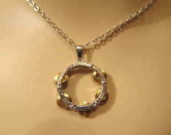 Silver Tambourine with Gold Jingles Tambourine Charm - Fashion Necklace