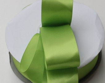 5 yards Apple green Double Faced satin Ribbon 1.5 inches - Apple green satin ribbon - Apple green satin ribbon