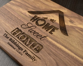 Home Sweet Home, Engraved Wood Cutting Board, Personalized Housewarming Gift, Hostess Gift, Wooden Chopping Block, Custom Kitchen Decor