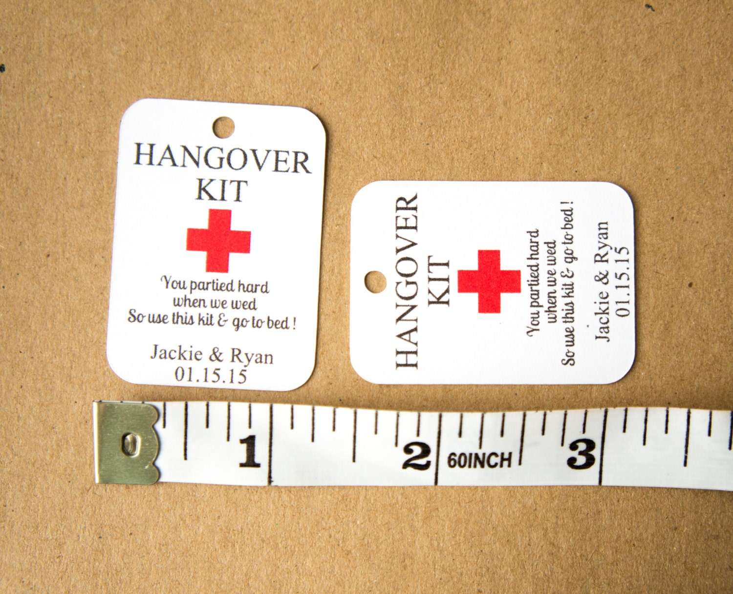 Wedding Favor Tag Kit : Kit Tags (1.75 by 1.25 inches), Hangover Kit Wedding Favor Tags ...
