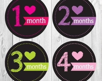 Chalkboard Monthly Stickers, Baby Girl Month Stickers, 1-12 Months, Photo Op Stickers for Baby, Shower Gift