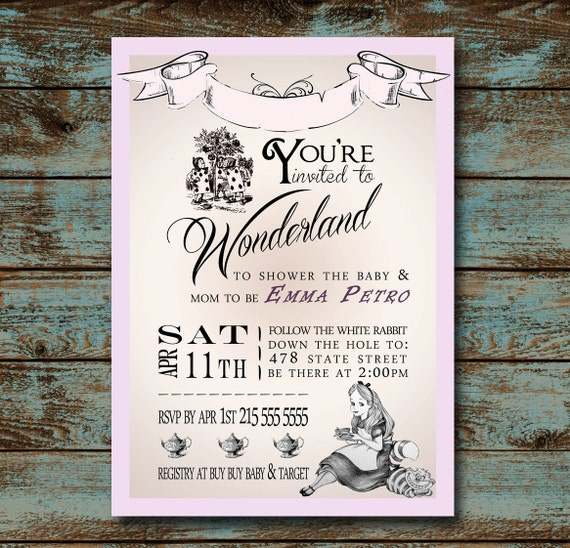alice in wonderland baby shower invitation by tdadesign on etsy