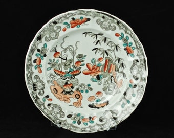 Antique English Black Transferware Hand Painted Ironstone Chinoiserie Floral Plate