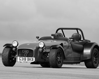 Poster of Caterham / Lotus Super Seven Left Front Black and White HD Print