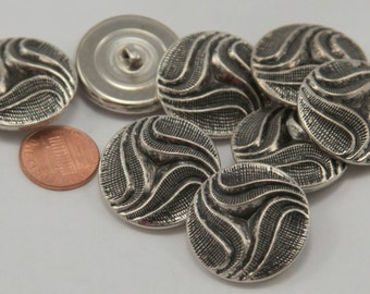 """Lot of 8 Large Silver Tone Metal Hollow Puffed Buttons Black Accent 1 1/8"""" 28mm # 6507"""