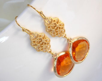 Wedding Jewelry , Orange Earrings, Gold,Tangerine, Carnelian, Bridesmaid Earrings, Bridesmaid Gifts, Bridesmaid Jewelry, Bride Gifts,Long