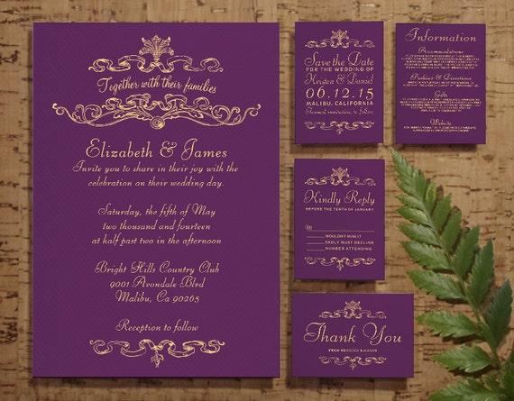 Purple And Gold Wedding Invitations: Purple And Gold Simple Luxury Wedding Invitation By
