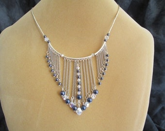Purple Pearl and Swarovski Crystal Fringe Necklace and Earring Set