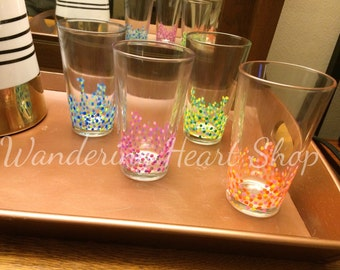 Hand Painted Confetti Pint Glasses