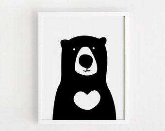 INSTANT DOWNLOAD Cute Bear Children room art Printable art Black and white Blue For babies Baby decor Nursery wall art 8x10,11x14,16x20inch
