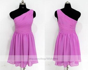 Handmade Pleated One-shoulder Chiffon Bridesmaid Dress/ One-shoulder / Wedding Party Dress /Lilac Bridesmaid Dress by wishdress