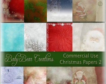 Commercial use, holiday themed digital scrapbooking papers.