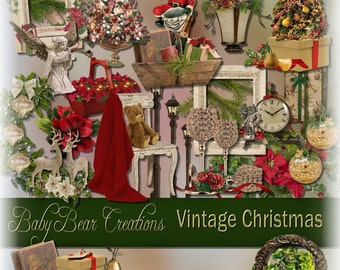 Vintage Style Christmas Digital Scrapbooking Kit