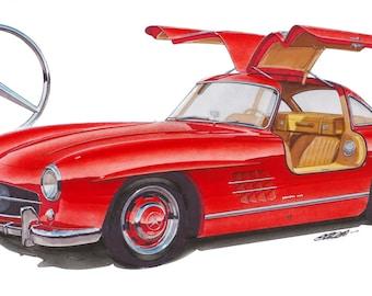 Mercedes 300SL 12x24 inch Art Print by Jim Gerdom
