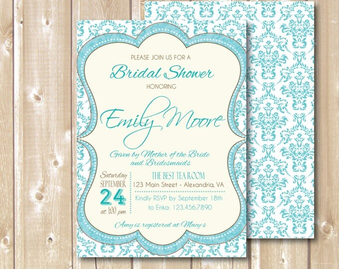 Bridal Shower Invitation. Turquoise style bridal shower. Printable Bridal Shower invitation. Teal Bridal Shower invite.