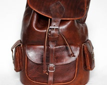 "Leather Backpack, Retro Style, 3 front pockets, Festival Bag, MEDIUM Size, 15"" Laptop 