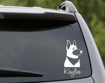 Vinyl Car Decal - 1 German Shepherd - Customize the Name! 6 CHOICES: Short/Long Hair/Black/White/Belgian Malinois