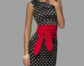 Pencil  Dress  for Women ,Elegant  Polka dot Dress with Belt ,Fit Dress Sleeveless .