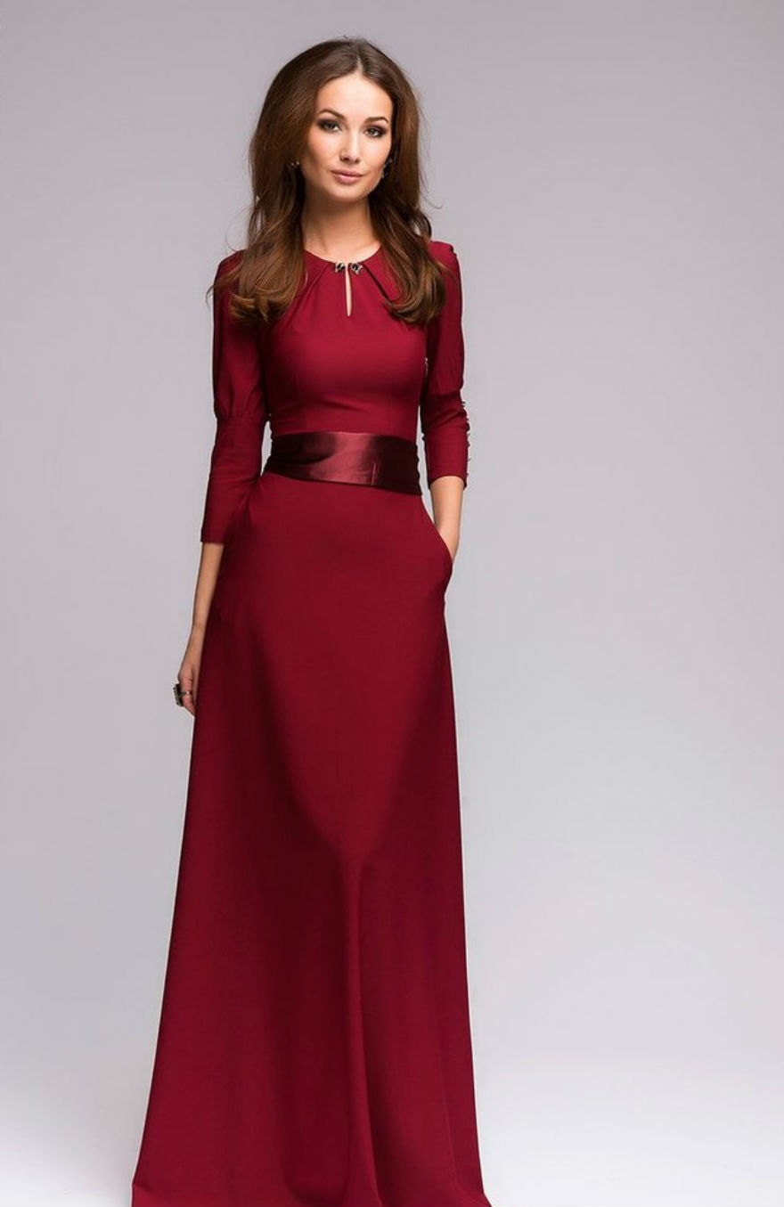 wine maxi dress formal dress with belt