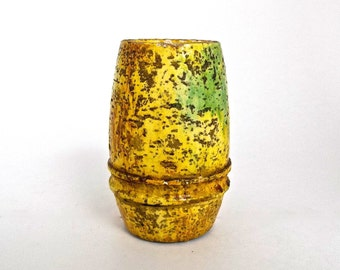 MidCenury Modern Ceramic Vase,Fantoni Signed Yellow Green Lighter,Marcello Fantoni for Raymor Italian Vase,Made in Italy Glazed Pottery Vase