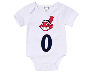 Custom Cleveland Indians Onesies / T shirts with custom name and number,